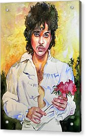 Prince Rogers Nelson Holding A Rose Acrylic Print