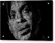 Prince Text Portrait - Typographic Face Poster With The Recorded Album Names Acrylic Print