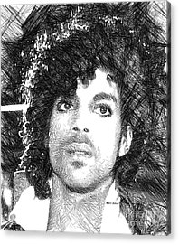 Prince - Tribute Sketch In Black And White 3 Acrylic Print