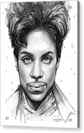 Prince Watercolor Portrait Acrylic Print by Olga Shvartsur
