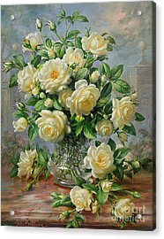 Princess Diana Roses In A Cut Glass Vase Acrylic Print by Albert Williams
