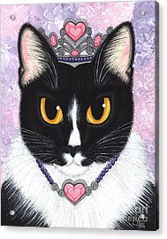 Acrylic Print featuring the painting Princess Fiona -tuxedo Cat by Carrie Hawks