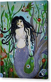 Acrylic Print featuring the painting Princess Mermaid by Pristine Cartera Turkus