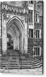 Acrylic Print featuring the photograph Princeton University Lockhart Hall Dorms Bw by Susan Candelario