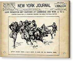Acrylic Print featuring the mixed media Princeton Vs Harvard - New York Journal 1896 by Daniel Hagerman