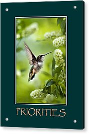 Priorities Inspirational Motivational Poster Art Acrylic Print by Christina Rollo