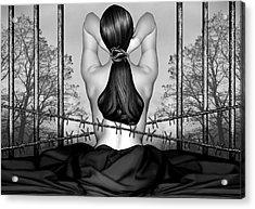 Private Prison Of Pain - Self Portrait Acrylic Print by Jaeda DeWalt