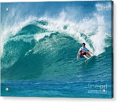 Pro Surfer Gabriel Medina Surfing In The Pipeline Masters Contes Acrylic Print by Paul Topp