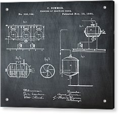 Process Of Brewing Patent 1885 In Chalk Acrylic Print