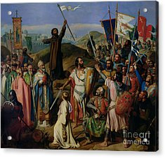 Procession Of Crusaders Around Jerusalem Acrylic Print by Jean Victor Schnetz