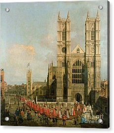 Procession Of The Knights Of The Bath Acrylic Print by Canaletto