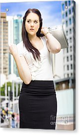 Professional City Lawyer Holding Silver Briefcase Acrylic Print