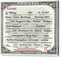 Acrylic Print featuring the photograph Prohibition Prescription Certificate Carrie Nation Speakeasy by David Patterson