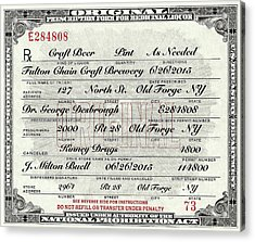 Acrylic Print featuring the photograph Prohibition Prescription Certificate Craft Beer by David Patterson