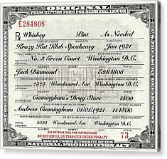 Acrylic Print featuring the photograph Prohibition Prescription Certificate Krazy Kat Klub by David Patterson