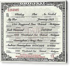 Acrylic Print featuring the photograph Prohibition Prescription Certificate My Bar, by David Patterson
