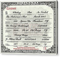 Acrylic Print featuring the photograph Prohibition Prescription Certificate Personalized by David Patterson