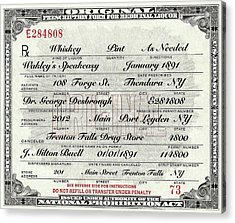 Acrylic Print featuring the photograph Prohibition Prescription Certificate Speakeasy by David Patterson