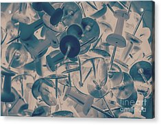 Projected Abstract Blue Thumbtacks Background Acrylic Print by Jorgo Photography - Wall Art Gallery
