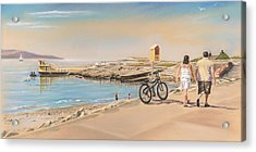 Promenade At Salthill Galway Acrylic Print by Vanda Luddy