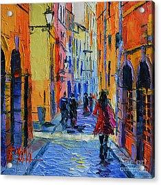 Promenade On Saint Georges Street Lyon Acrylic Print by Mona Edulesco