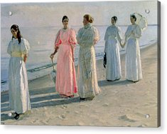Promenade On The Beach Acrylic Print by Michael Peter Ancher