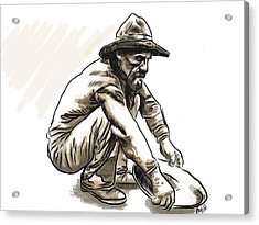 Acrylic Print featuring the drawing Prospector by Antonio Romero