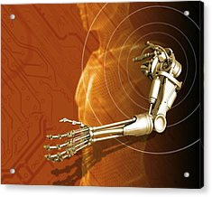 Prosthetic Robotic Arm, Computer Artwork Acrylic Print by Victor Habbick Visions