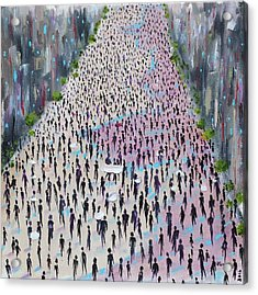 Acrylic Print featuring the painting Protesters by Judith Rhue