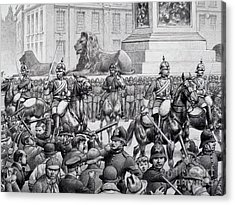 Protests In Trafalgar Square By The London Poor Acrylic Print by Pat Nicolle