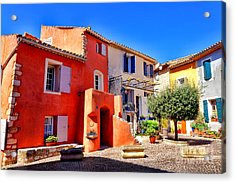 Provencal Plaza Acrylic Print by Olivier Le Queinec