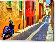 Provence Street With Scooter Acrylic Print