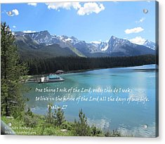 Acrylic Print featuring the painting Psalm 27 With Maligne Lake by Linda Feinberg