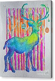 Psychedeer Acrylic Print by Li Newton