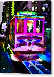 Psychedelic Cable Car Acrylic Print by Anthony Caruso