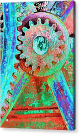Psychedelic Gears Acrylic Print by Phyllis Denton