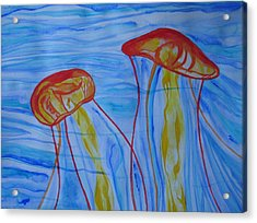 Psychedelic Lion's Mane Jellyfish Acrylic Print by Erika Swartzkopf