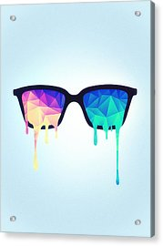 Psychedelic Nerd Glasses With Melting Lsd Trippy Color Triangles Acrylic Print by Philipp Rietz