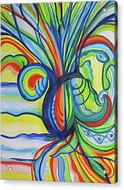 Psychedelic Pineapple Acrylic Print by Erika Swartzkopf