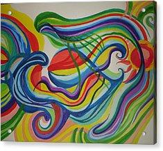 Psychedelic Swim Acrylic Print by Erika Swartzkopf