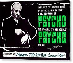 Psycho, Director Alfred Hitchcock Acrylic Print