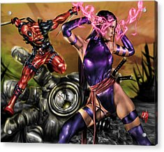 Psylocke And Deadpool Acrylic Print by Pete Tapang