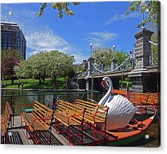 Public Garden Swan Boat In The Spring Boston Ma Acrylic Print