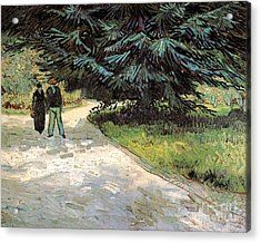 Public Garden With Couple And Blue Fir Tree The Poet S Garden IIi Acrylic Print by Vincent Van Gogh