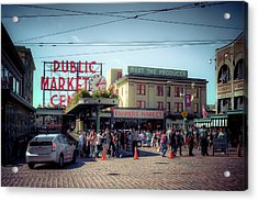 Acrylic Print featuring the photograph Public Market Crowd by Spencer McDonald