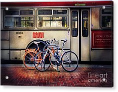 Acrylic Print featuring the photograph Public Tier Bicycles by Craig J Satterlee