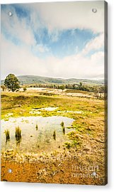 Puddled Fields And Distant Hills Acrylic Print by Jorgo Photography - Wall Art Gallery