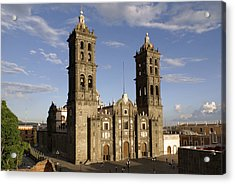 Puebla Cathedral Horizontal Mexico Acrylic Print by John  Mitchell