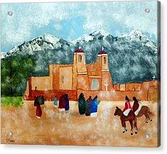 Pueblo Church Acrylic Print by Joseph Frank Baraba