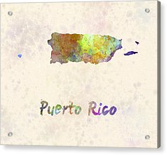 Puerto Rico  In Watercolor Acrylic Print by Pablo Romero